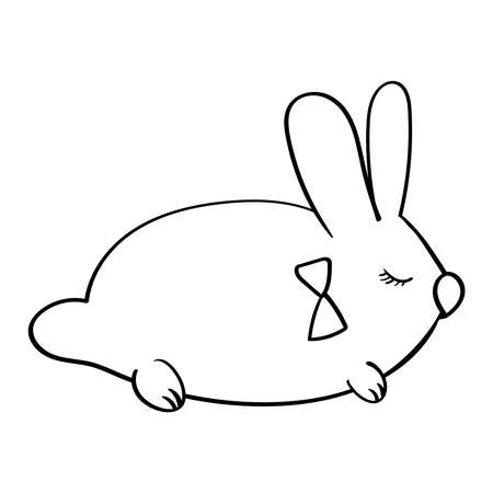 Cute Cartoon Rabbit or Hare Easter illustration. Vector clip art illustration Coloring page or book. 向量圖像