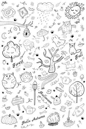Coloring Symbol Autumn and Halloween page or book, vector sketches. Big Set collection Doodle, Halloween illustration. Hygge and Cozy, Cartoon Coloring illustration.
