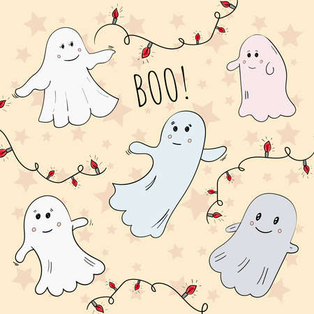 Cute Vector Ghosts Boo, Halloween illustration.
