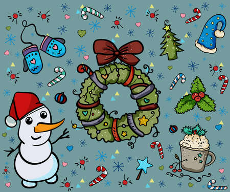 Sweet Christmas or New Year's Illustration, Vector oliday time and coziness. Christmas elements, New Year Vector.