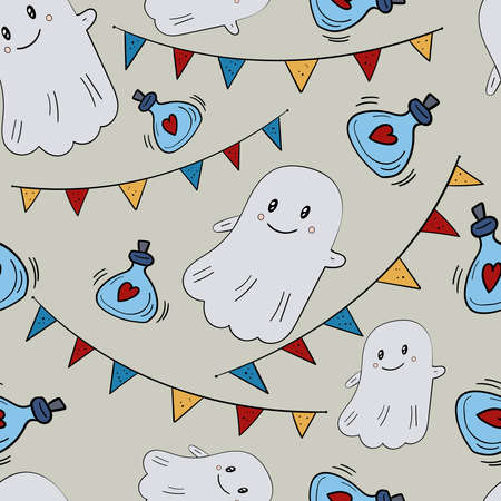 Cute Vector Ghosts Boo, Halloween illustration. Vector Seamless pattern.