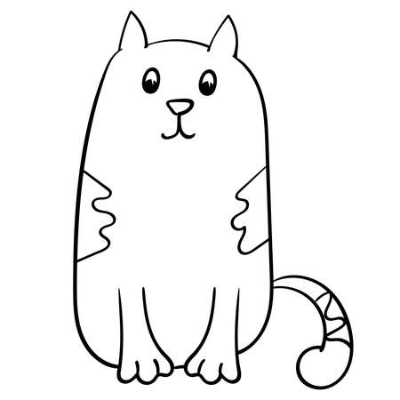 Hand drawn Kawaii Cat or Kitten cartoon illustration. Cute adorable hand drawing Animal, Vector doodle Illustration for coloring.