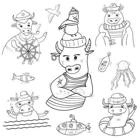 Vector Big set or collection on Sea subject. Bulls in Sea style. Hand drawn Coloring page or book for children and adults. 向量圖像