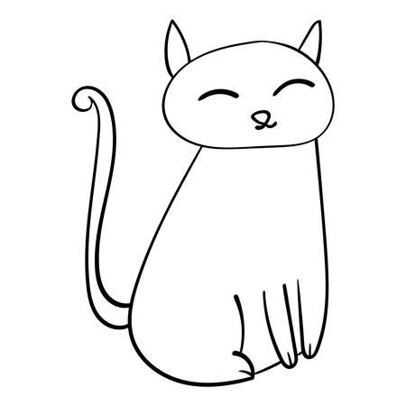 Hand drawn Cute Cat cartoon animals illustration. Animal Vector doodle Illustration for coloring. 向量圖像