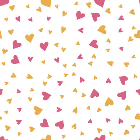 Heart confetti. Valentine's Day Love Symbols. Vector Illustration with holiday symbols, Vector Seamless background. 向量圖像