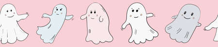 Cute Vector Ghosts Boo, Halloween illustration Banner. 向量圖像