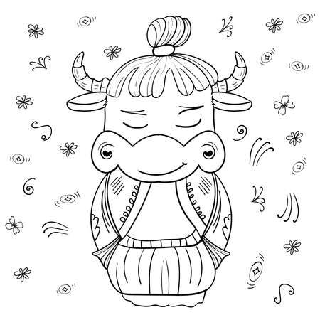 illustration Bull of kokeshi Samurai. Asian style Hand drawn illustration. Cartoon Coloring illustration. 矢量图像