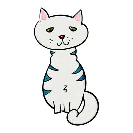 Hand drawn illustration Cat with blue stripes.