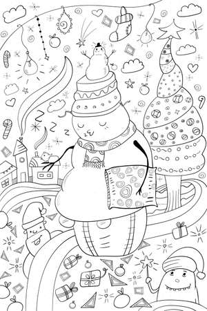 Snowman coloring, Merry Christmas Cozy Coloring Page or Book, Black and white Kawaii Style and Doodle art 向量圖像