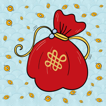 Traditional lucky bag Chinese or Korean, Rain from Gold Coins. Symbol of Prosperity. 向量圖像