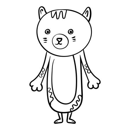 Portrait Hand drawn Cat illustration.