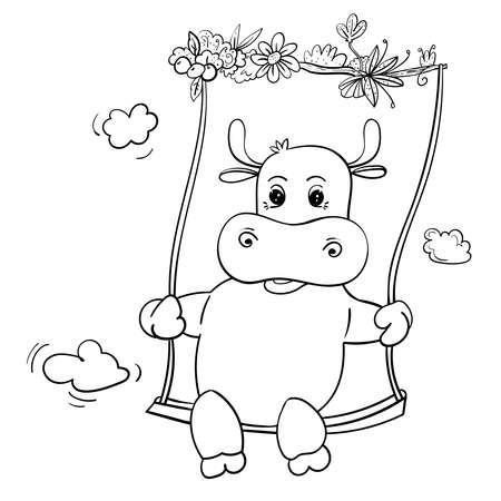 Lovely Bull or Cow on Swing. Hand drawn illustration. Coloring page or book for Children 向量圖像