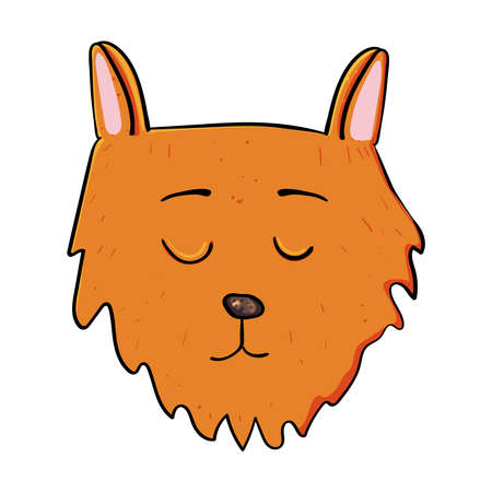 Red Cat's head, Kitty, Cat or Kitten. doodle illustration on transparent or white backgrounds. 向量圖像