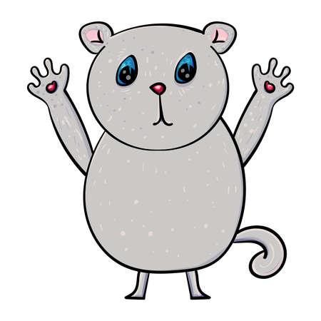 Little kitten. Cartoon character. Gray Kitty, Cat or Kitten. Vector doodle illustration.