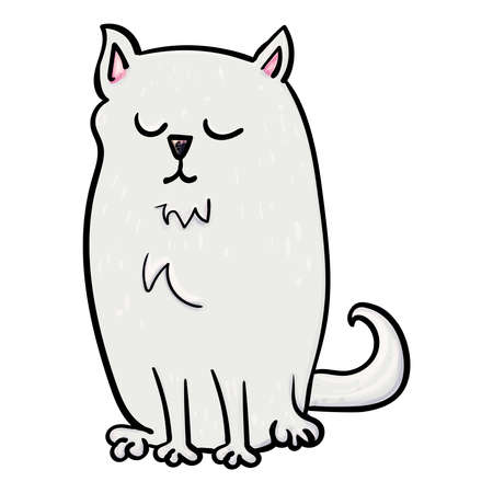 Happy at is a Pet. Kitty, Cat or Kitten. Vector doodle illustration on transparent or white backgrounds.