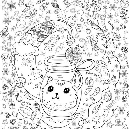 Christmas Fairy Tale, Half moon, Coloring Merry Christmas Cozy. Page or Book, Vector Black and white Kawaii Style and Doodle art 向量圖像