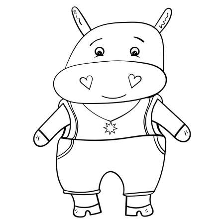 Cute Hippopotamus in jumpsuit. Black and white illustration Hand drawn vector.