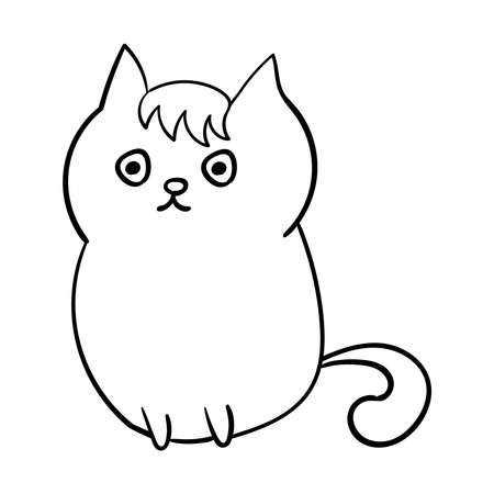 Cute Cat Vector sketch animals Coloring page or book 向量圖像