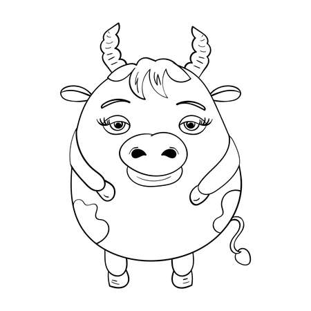 Cute Bull or Cow 2021, happy New Year. Vector doodle illustration Chinese lunar zodiac Cartoon Coloring illustration.