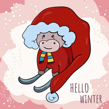 Cute Cow or Bull in the image of Santa Claus on skis. Vector illustration for children. Symbol of the new year.