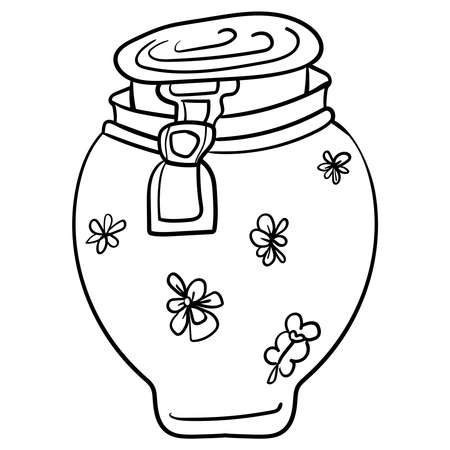 Jar Vector doodle illustration. Clip art. Cozy Home, Coloring page or book, anti-stress, hobby.