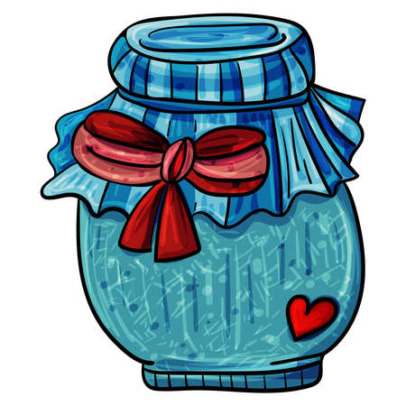 Glass Jar Shabby Style, Hand drawn vector illustration for any design 向量圖像