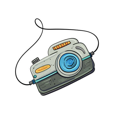 Retro Photo Camera or modern model Camera digital. Hand drawn Vector illustration for any design
