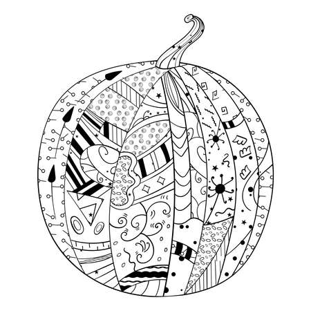 Doodle Watermelon, line medallion Vector design Adult Coloring page or book, anti-stress, hobby. 向量圖像