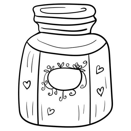 Vector Jar for products, Cozy Home Decor, Coloring page or book, anti-stress, hobby. Clip art illustration.