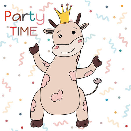 Super Cute Cow or Bull in the crown, Chinese New Year Symbol 2021, Party Time Vector illustration for children.
