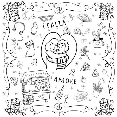 Romantic illustration Italy Love. Gastronomic journey. Valentines day illustration, Vector Doodles on transparent or white backgrounds.