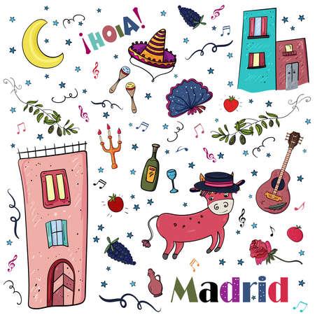 Hello Madrid, Spain hand drawn doodle. Travel Vector clip art illustration. Scrap Set Elements.