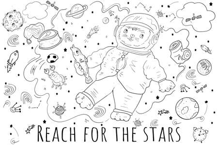 Astronaut Cat with fish in his paw. Space Doodle, space debris, planets, stars etc. Space symbols, Cartoon Coloring illustration.