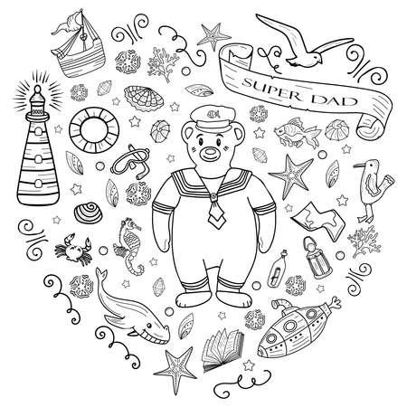 Big coloring Sea Doodles hand drawn Vector illustration.
