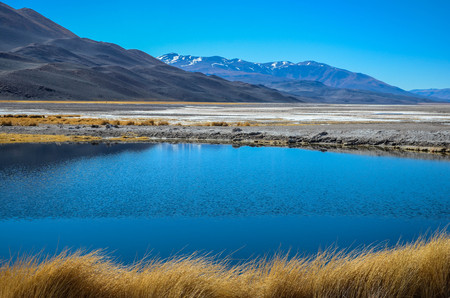 Colorful lagoon, salt peats, and the Andes mountains Фото со стока