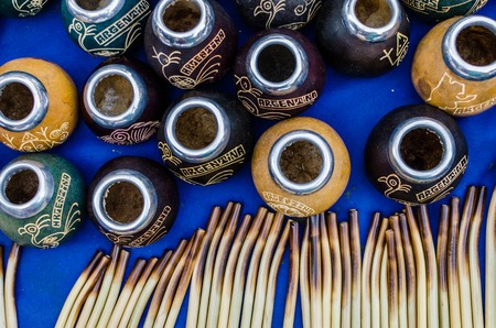 Traditional calabash gourds for drinking Argentina yerba mate tea Stock Photo