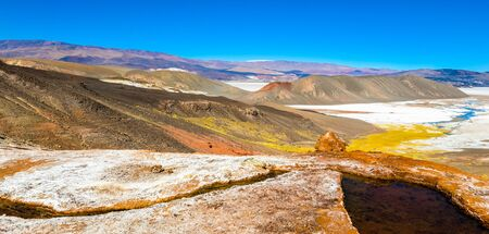 Colorful lagoon, salt peats, and the Andes mountains of Catamarca, Argentina Reklamní fotografie