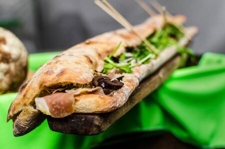 Close up of huge panini sandwich at a street food market