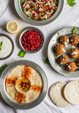 Selection of traditional Arab and Jewish healthy food, vegan and vegetarian