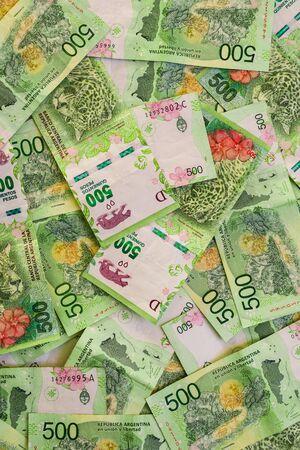 Close up of argentine money, 500 pesos bills Stock Photo