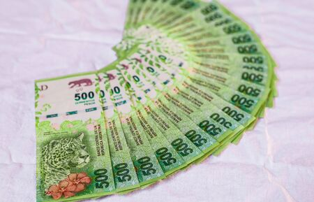 Gros plan de l'argent argentin, billets de 500 pesos
