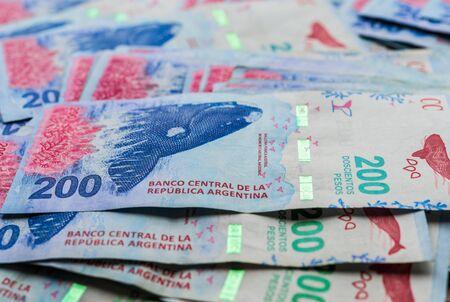 Close up of Argentine money, 200 pesos bills