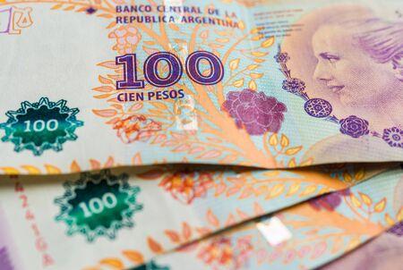 Close up of Argentine money, 100 pesos bills