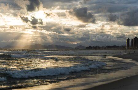 Barra da Tijuca coastline beach sea in Rio de Janeiro during the sunset