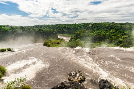 Wide angle landscape of Iguazu falls waterfalls. Photo from Argentinian side. Zdjęcie Seryjne