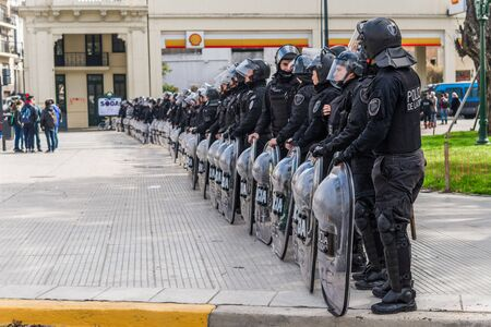 Buenos Aires, Argentina - August 31, 2018: Buenos Aires police during a protest
