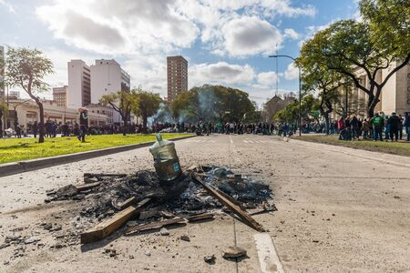 Buenos Aires, Argentina - August 31, 2018: Protesters during a rally