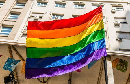 Rainbow flag at a Pride Day gay, lesbian, and LGBT parade.