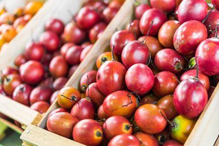 Tamarillo tree tomato exotic fruit at a street food market fair festival. Stock Photo