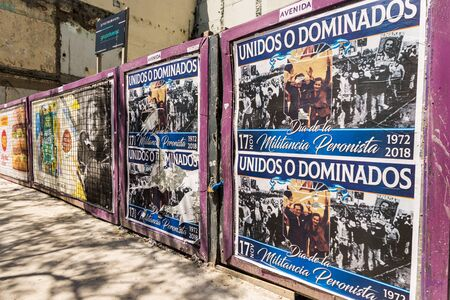 Buenos Aires, Argentina - November 18, 2018: Posters at Justicialism anniversary